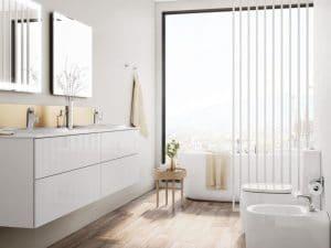 Baños para parejas: mueble de baño con lavabo doble